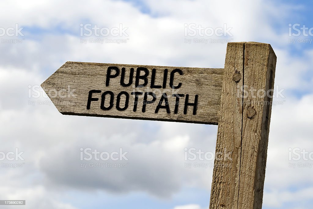 Wooden public footpath sign royalty-free stock photo