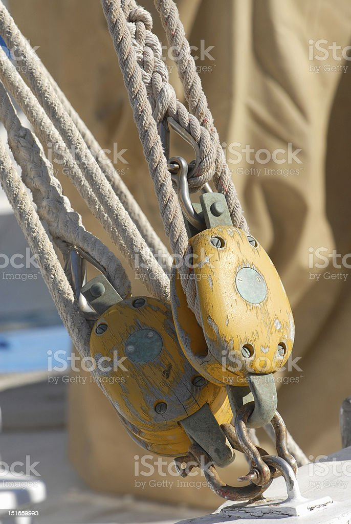 Wooden pulleys and ropes of an old sailship royalty-free stock photo