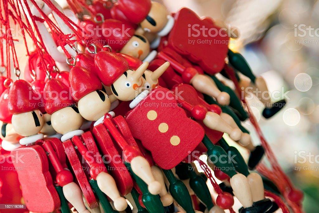 Wooden puppet souvenirs stock photo