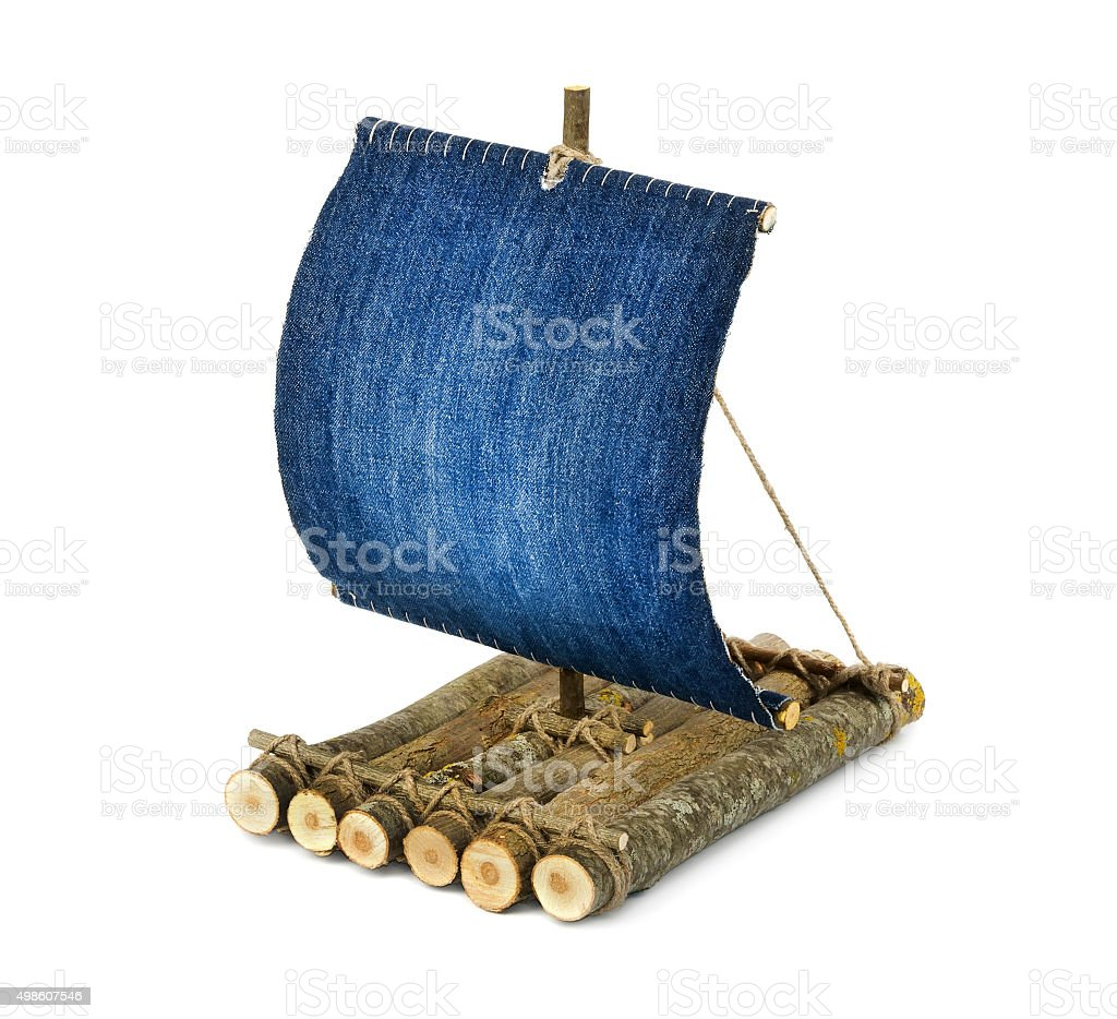 Wooden raft on white background stock photo