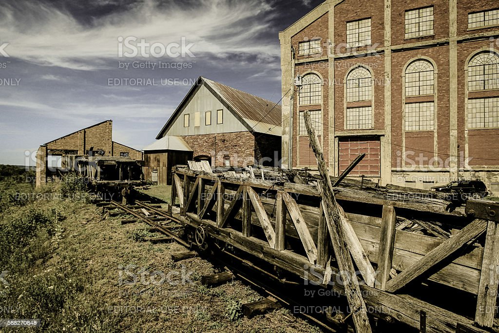 Wooden Rail Cars At Abandoned Mine stock photo