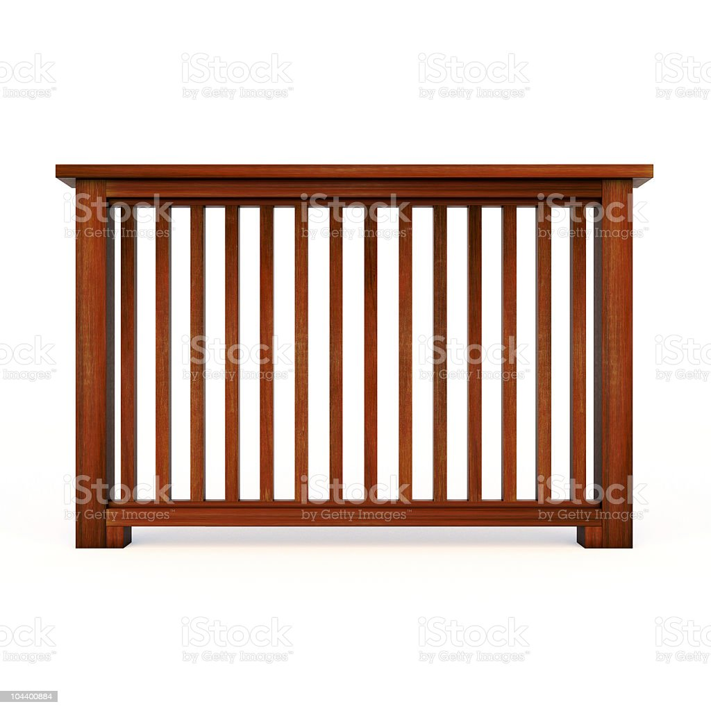 Wooden railing with balusters stock photo