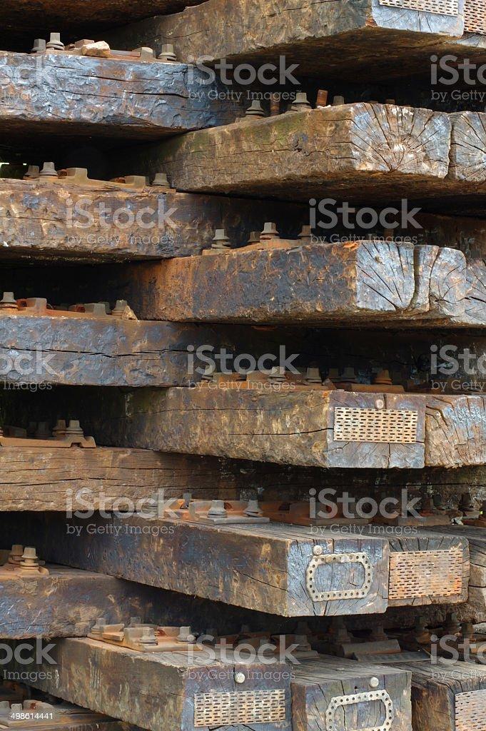 Wooden railway sleepers 2 stock photo