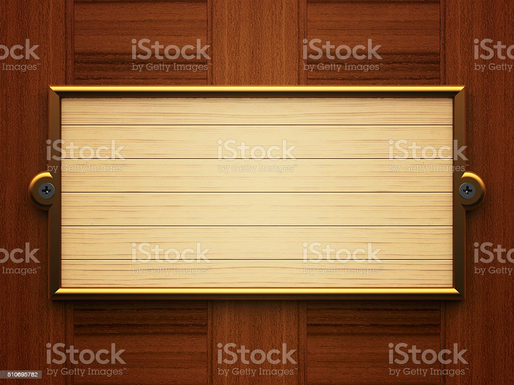 Wooden rectangle doorplate stock photo
