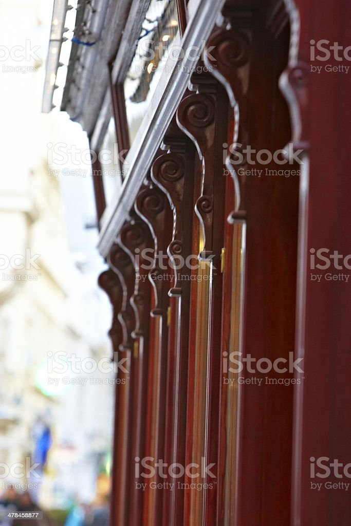 Wooden red oriental facade elements royalty-free stock photo