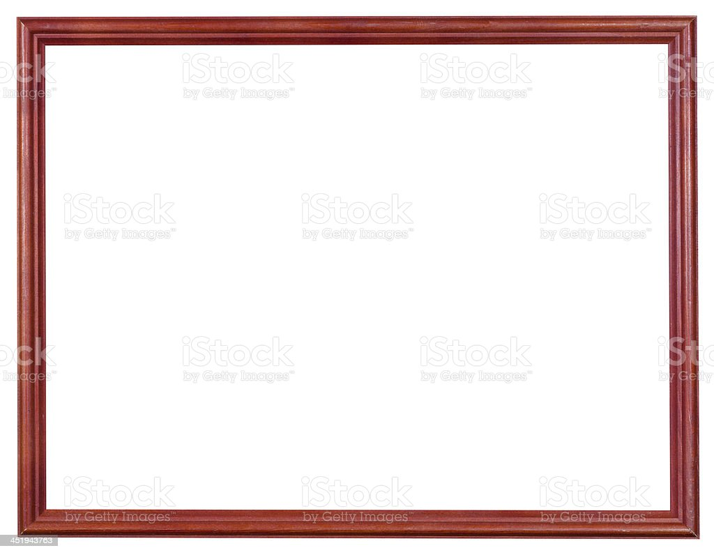 wooden red picture frame with cut out canvas royalty-free stock photo