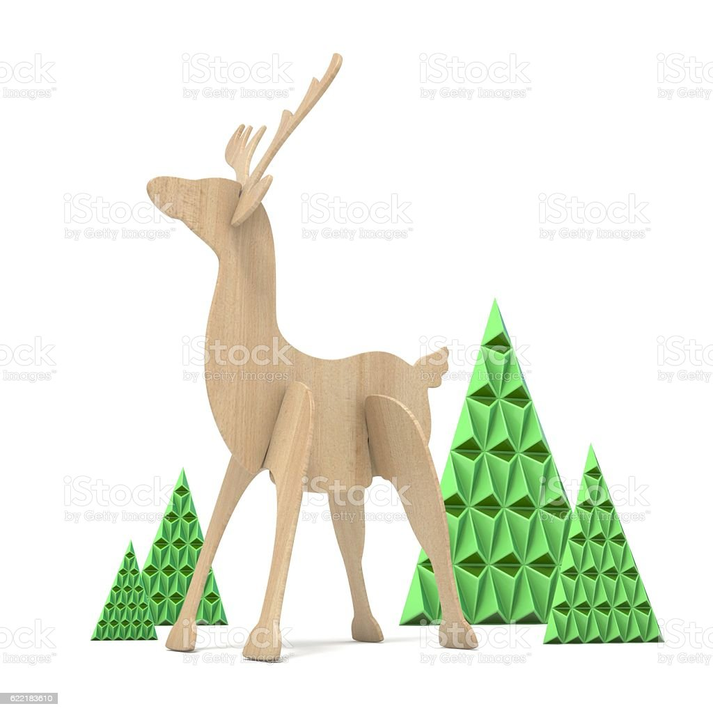 Wooden reindeer and abstract triangulated trees. 3D stock photo