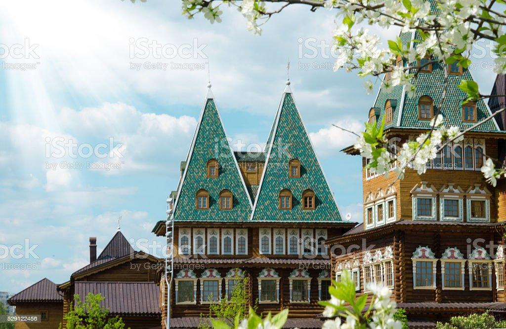 Wooden residence of Russian Tsars in Kolomenskoye, Moscow, Russia stock photo
