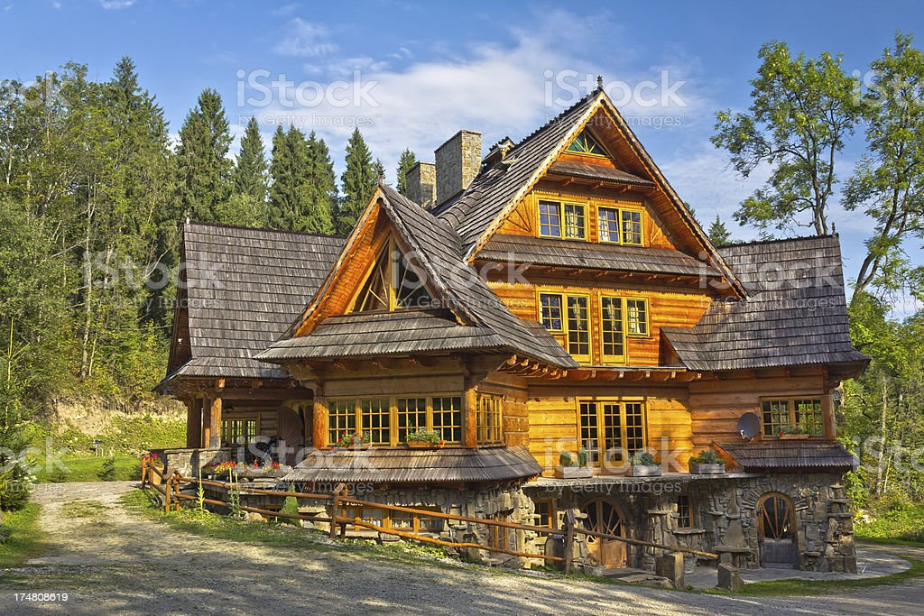 Wooden residential House stock photo