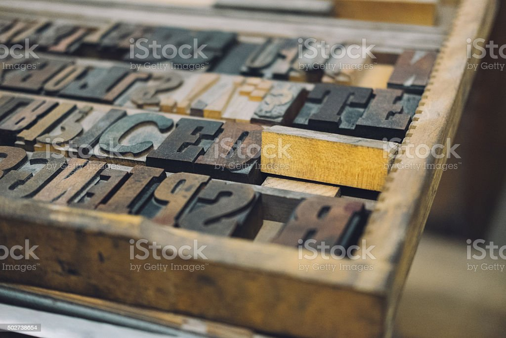Wooden retro mixed typescriptes stock photo