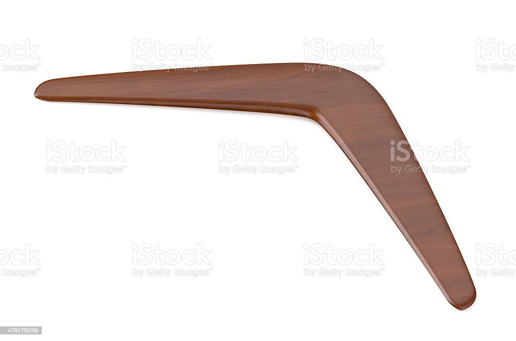 wooden returning boomerang stock photo