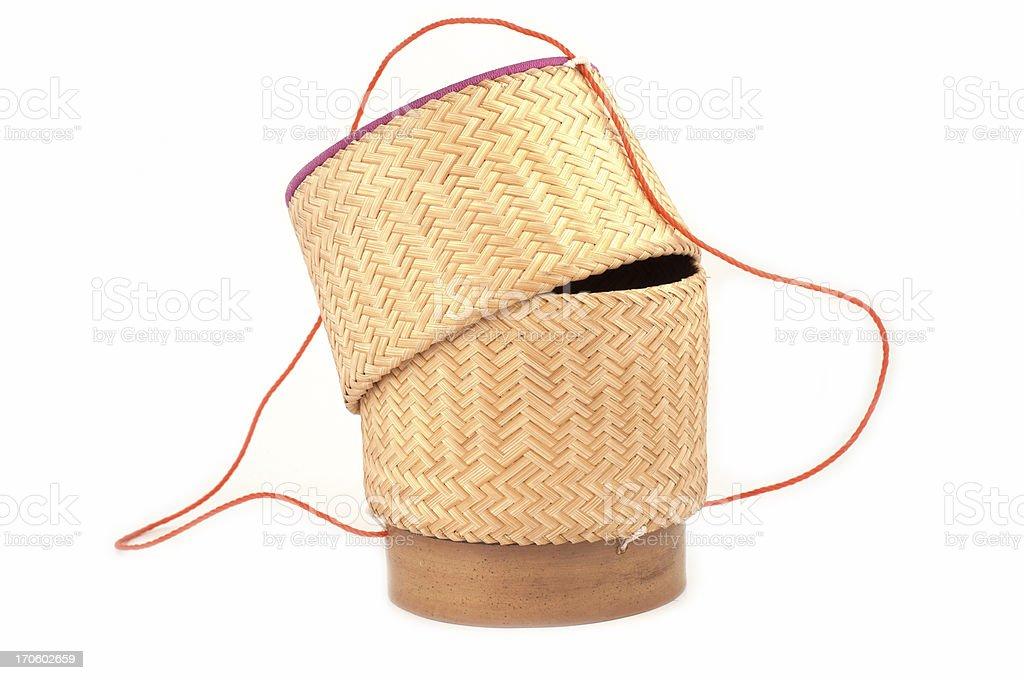 Wooden rice box thai style royalty-free stock photo