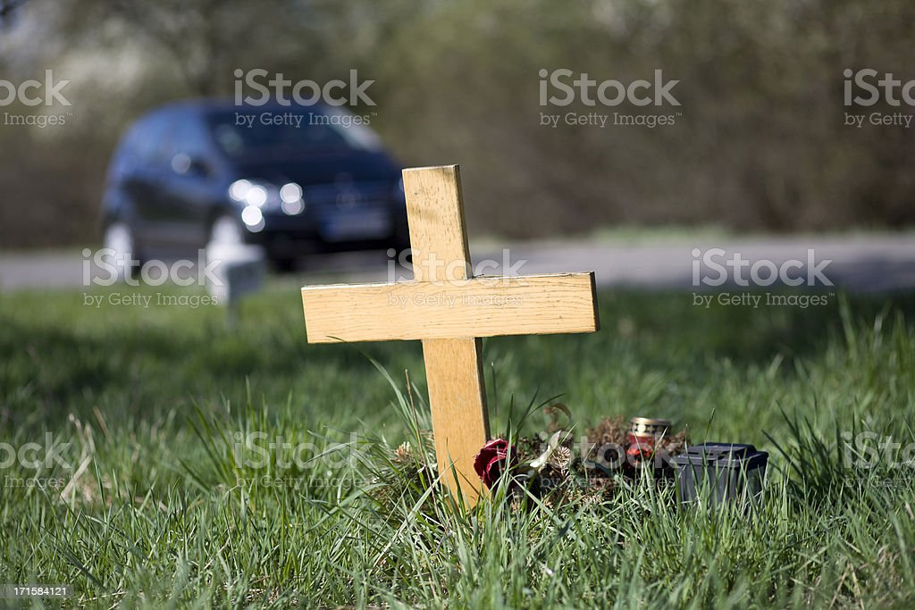 Wooden roadside memorial stock photo