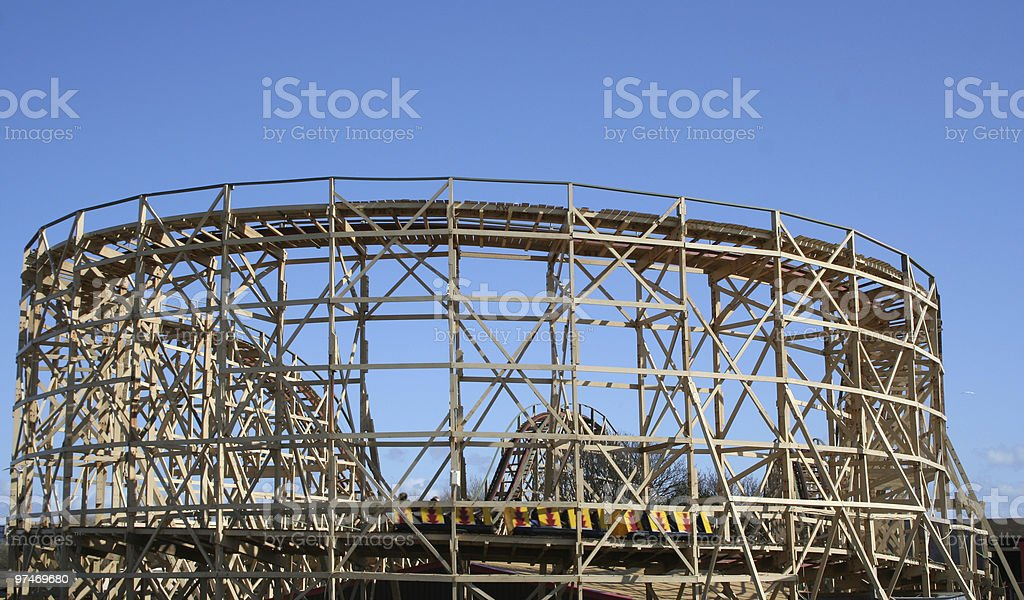 Wooden Rolercoaster. royalty-free stock photo