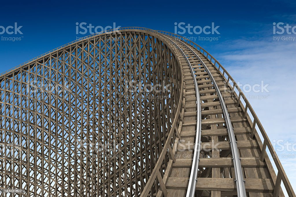 Wooden roller coaster track at park stock photo