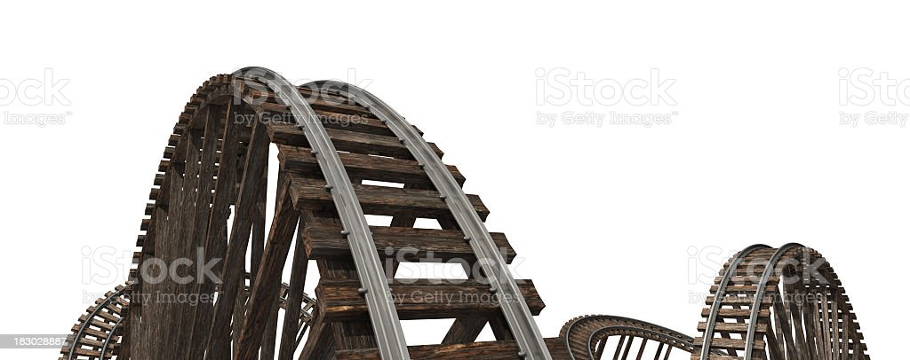 Wooden roller coaster tracks on a white background stock photo