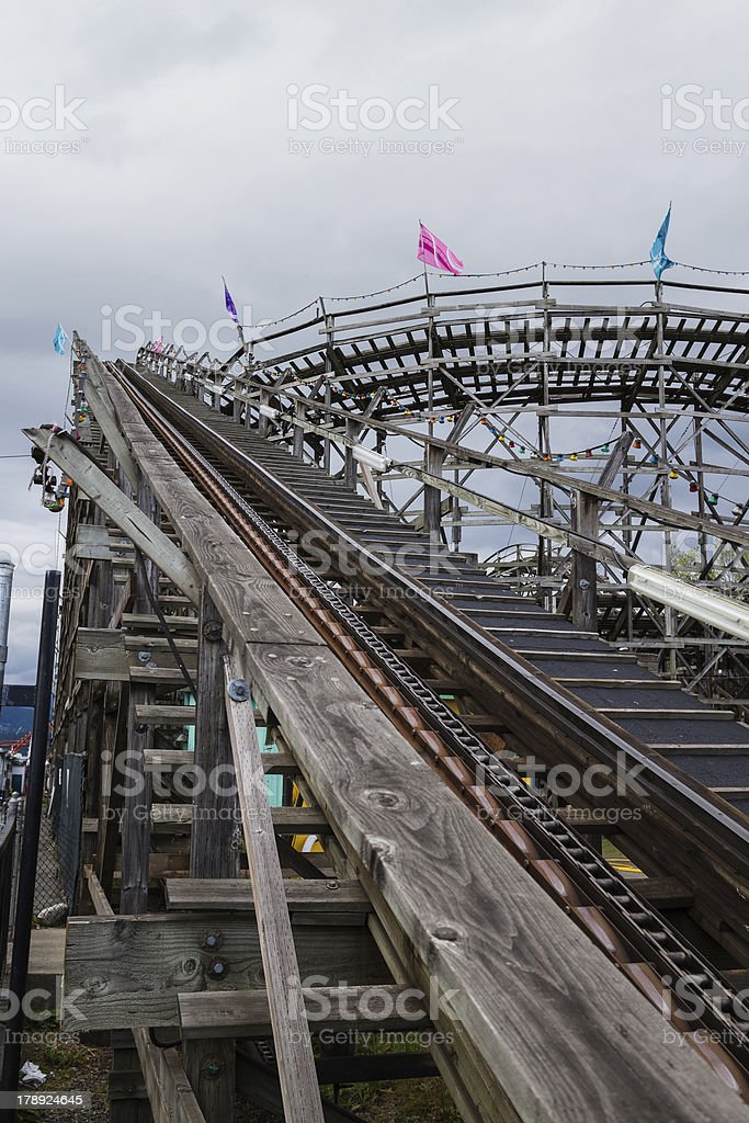 wooden rollercoaster-tall stock photo