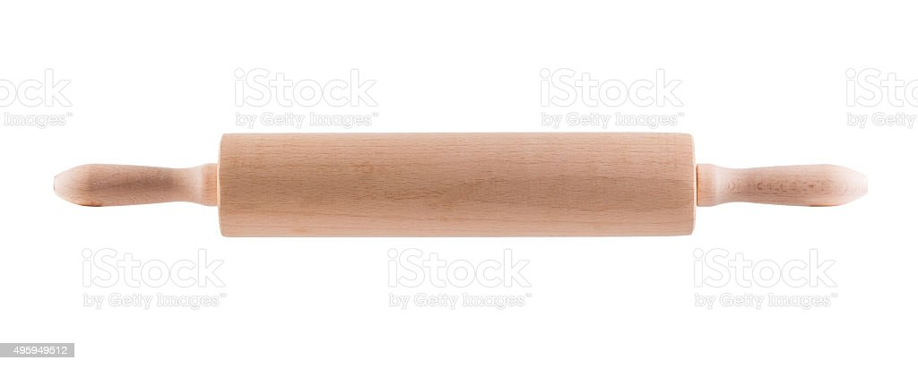 wooden rolling pin stock photo