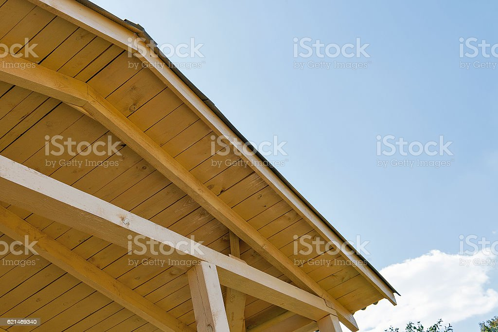 wooden roof construction outdoor stock photo