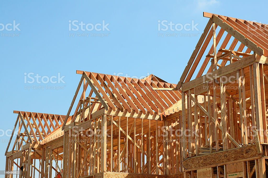Wooden Roof Frame stock photo