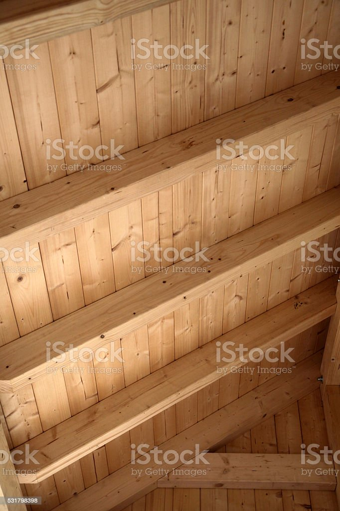 Wooden roof from below stock photo