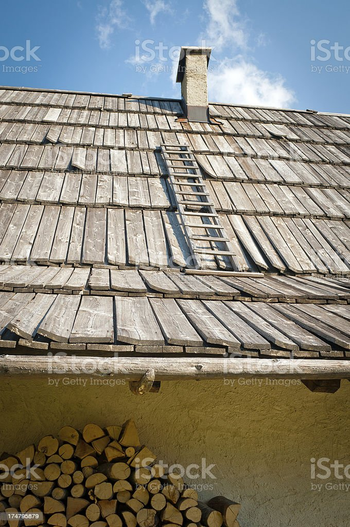 Wooden Roof of House in Trenta Valley Slovenia stock photo