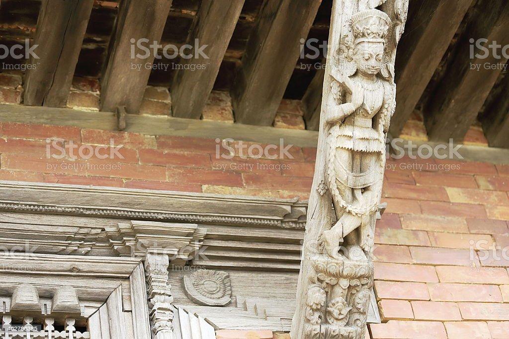 Wooden roof strut. Gorkha Durbar-Nepal. 0419 stock photo