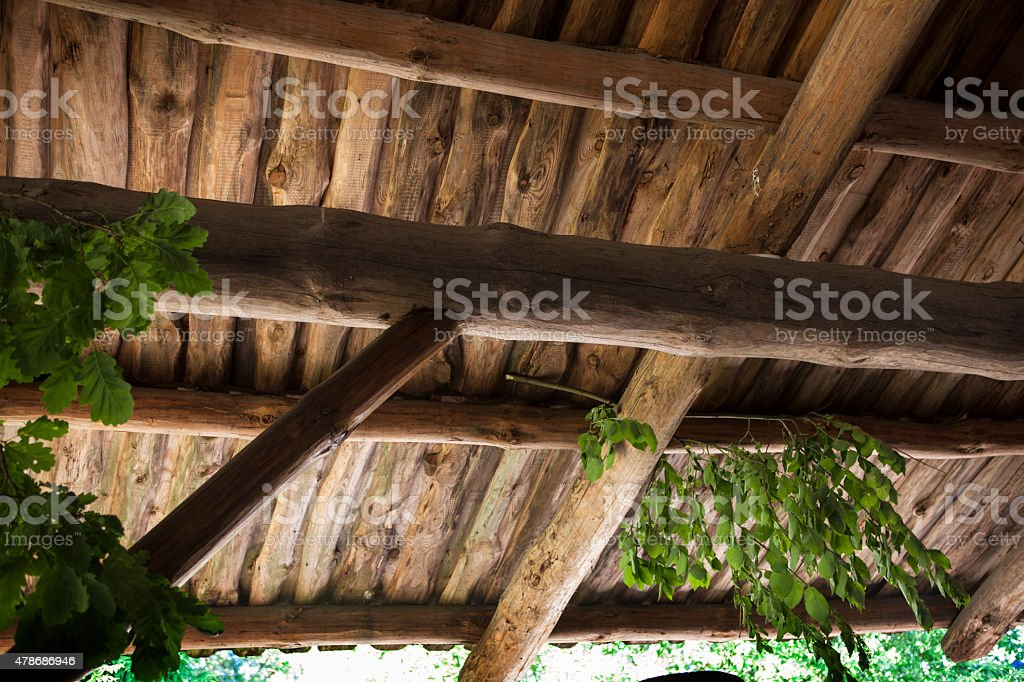Wooden roof trusses stock photo