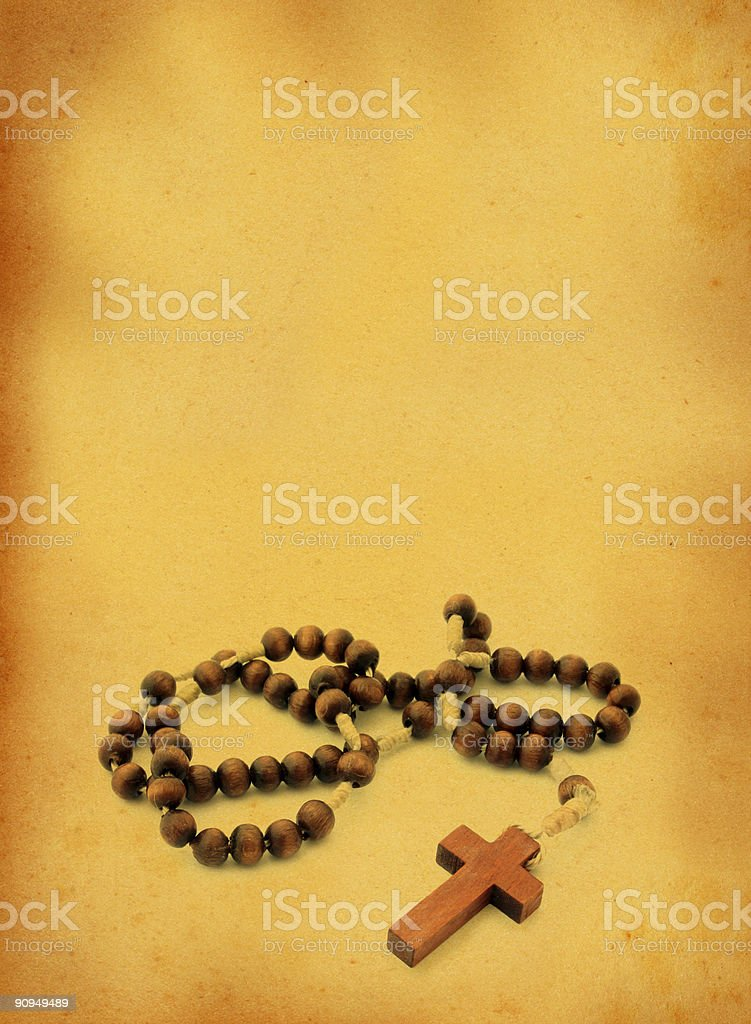 wooden rosary against retro background royalty-free stock photo
