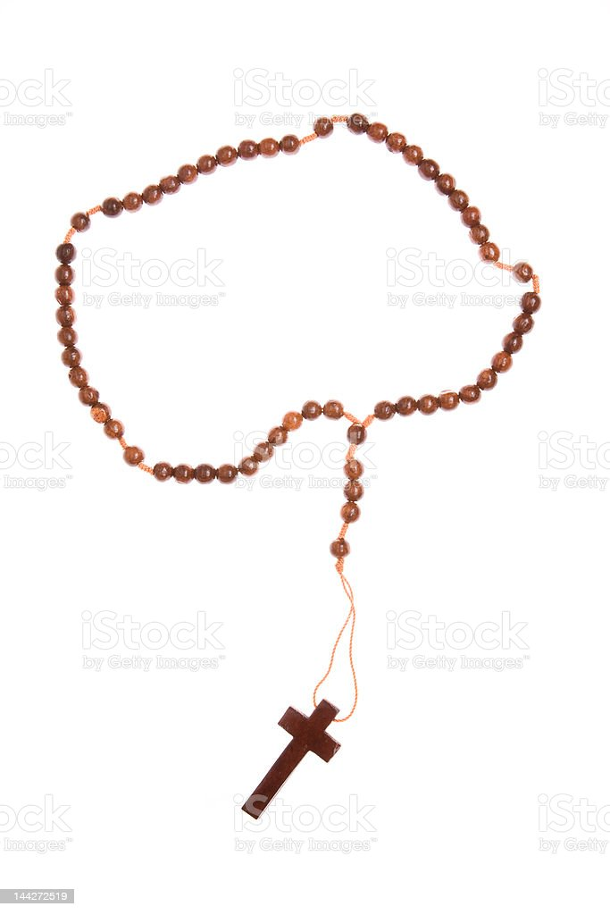 Wooden Rosary Isolated on White Background stock photo