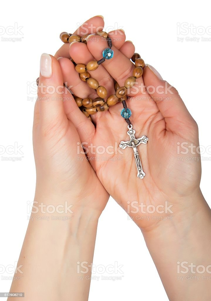 Wooden rosary stock photo