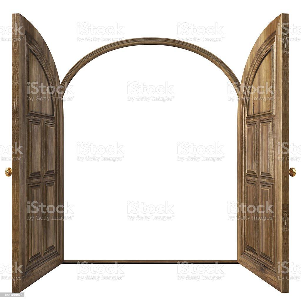 Wooden round doors type illustration stock photo
