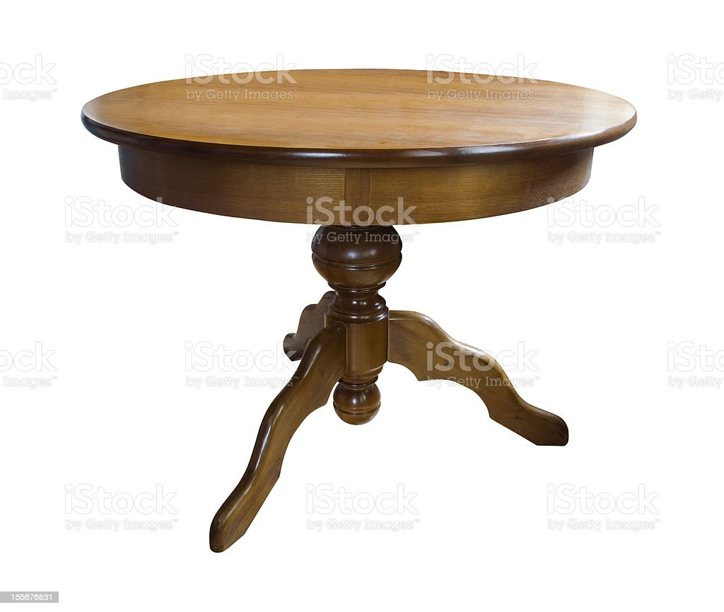 Wooden round table royalty-free stock photo