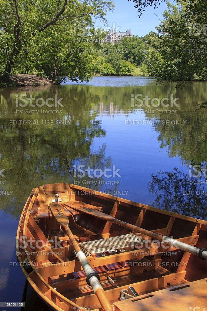 Wooden Rowboat at Biltmore Estates Asheville NC stock photo