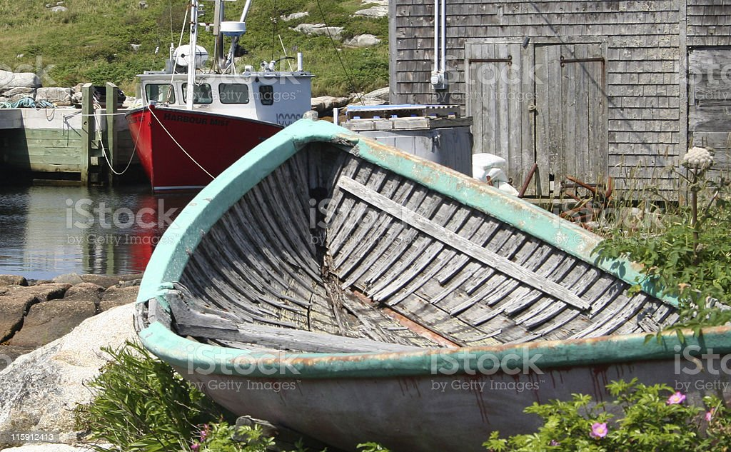 Wooden Rowboat in a Fishing Village royalty-free stock photo