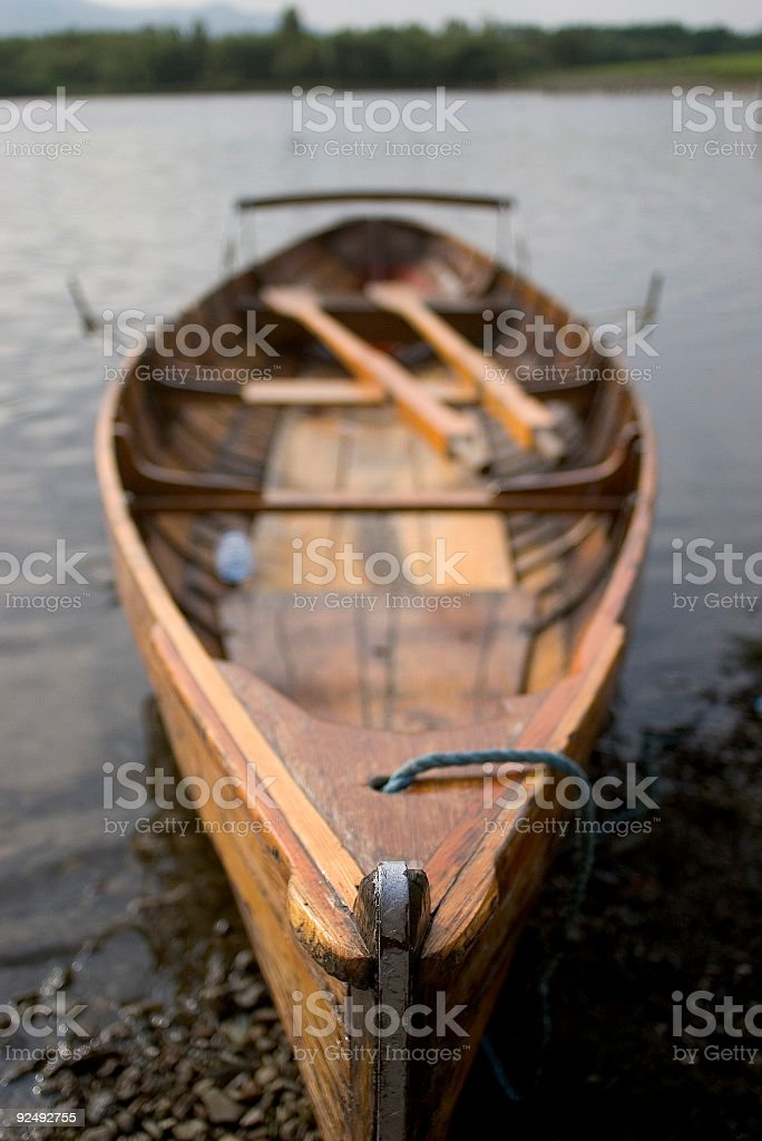 Wooden rowing boat royalty-free stock photo