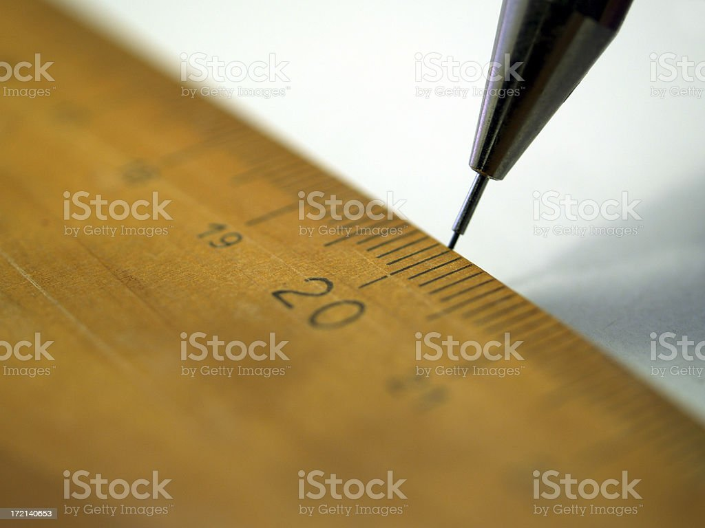 wooden ruler and pencil tip stock photo