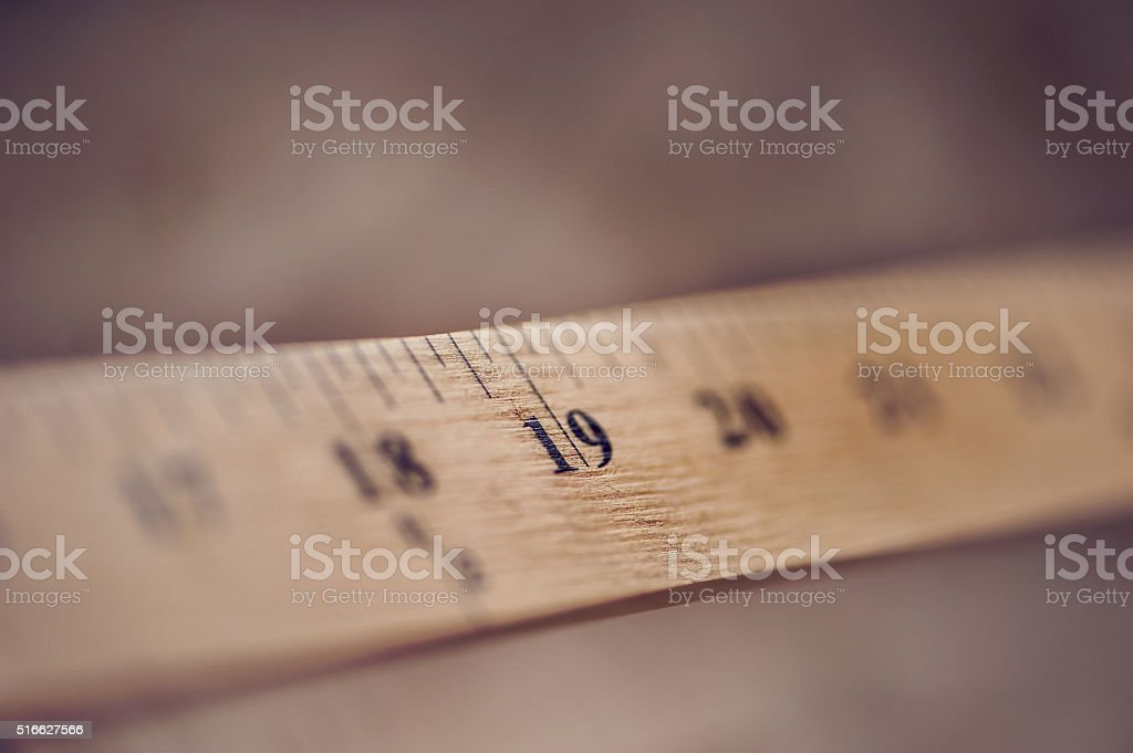 Wooden Ruler at 19 units stock photo