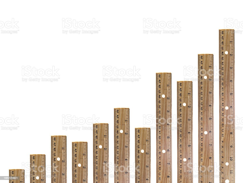 Wooden Ruler Graph stock photo