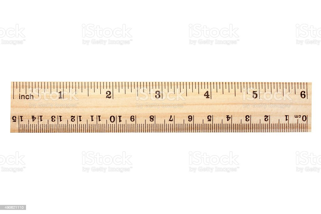 Wooden ruler stock photo