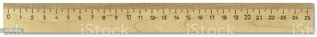 XXL wooden ruler with clipping path isolated on white background royalty-free stock photo