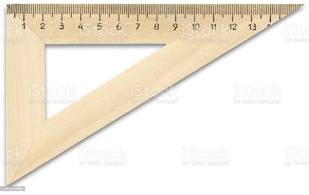 Wooden ruler with clipping path on white background stock photo
