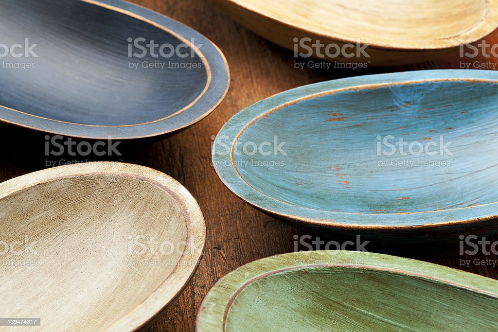 wooden rustic bowls stock photo