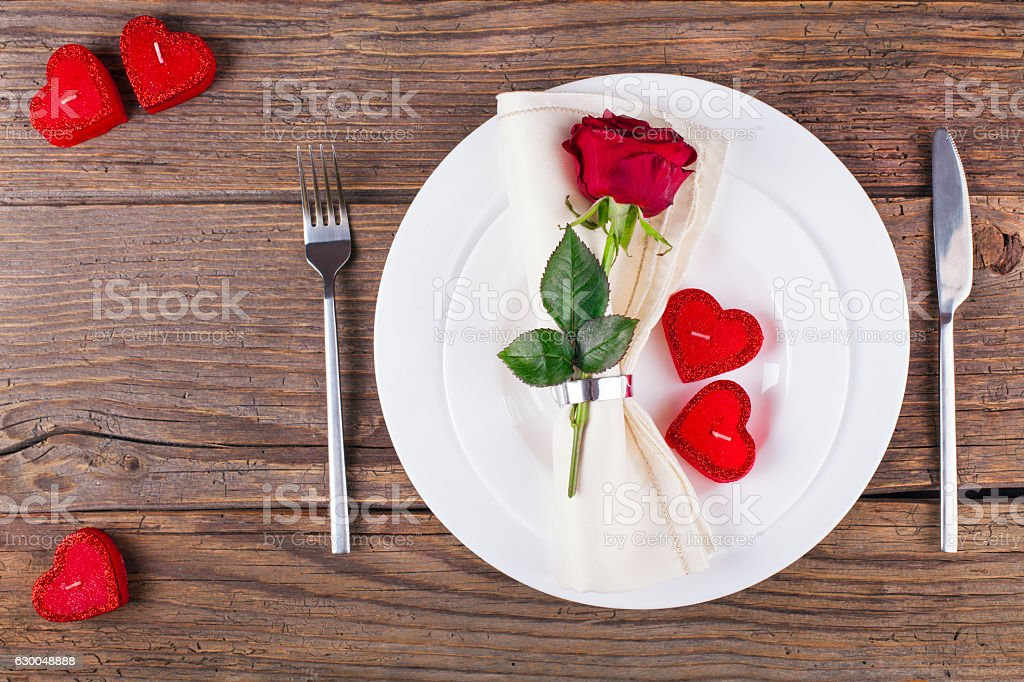 Wooden rustic table set for Valentine's Day stock photo
