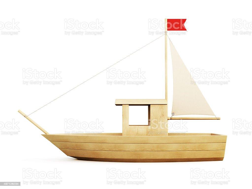 Wooden Sailboat side view. 3d. stock photo