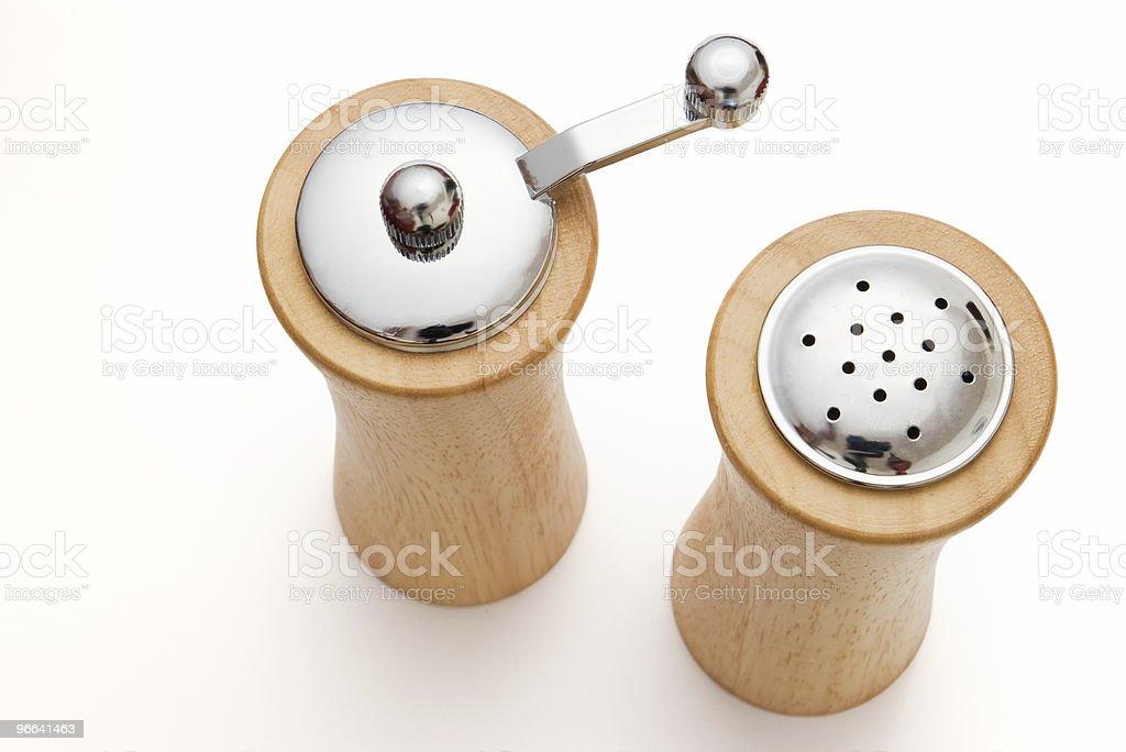 wooden salt and pepper shaker stock photo