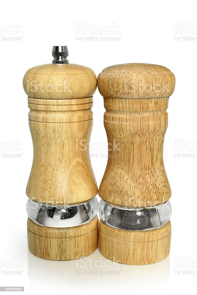Wooden salt and pepper shakers royalty-free stock photo