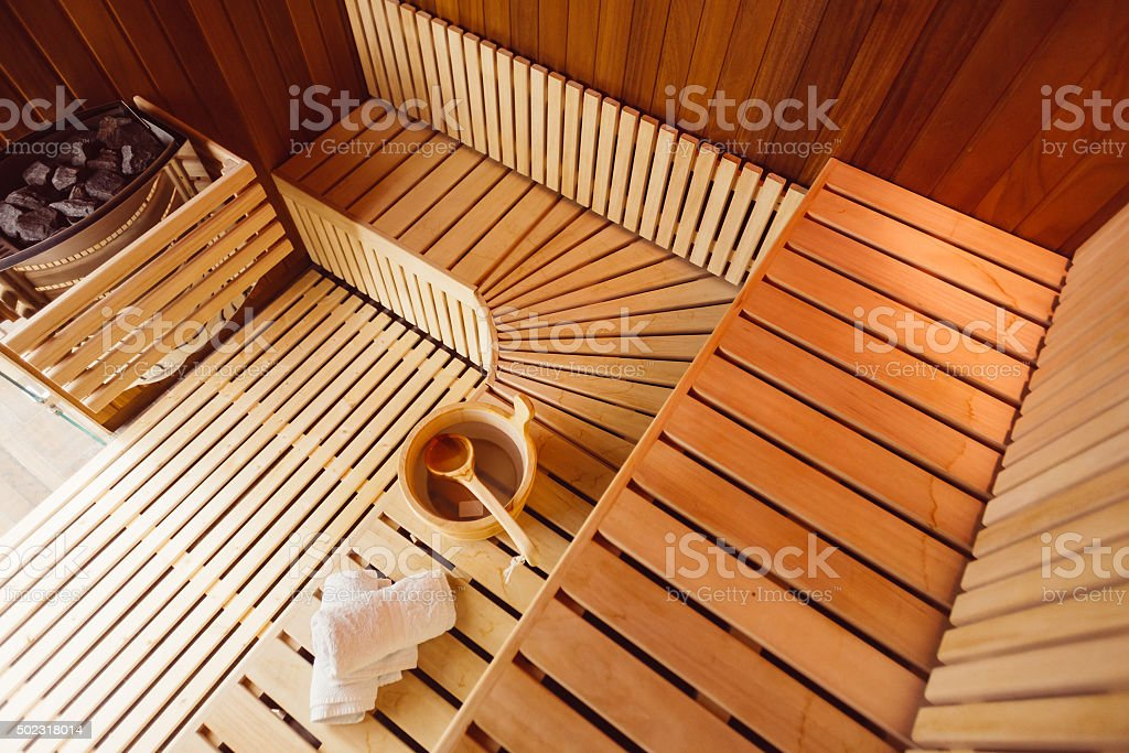 Wooden sauna room stock photo