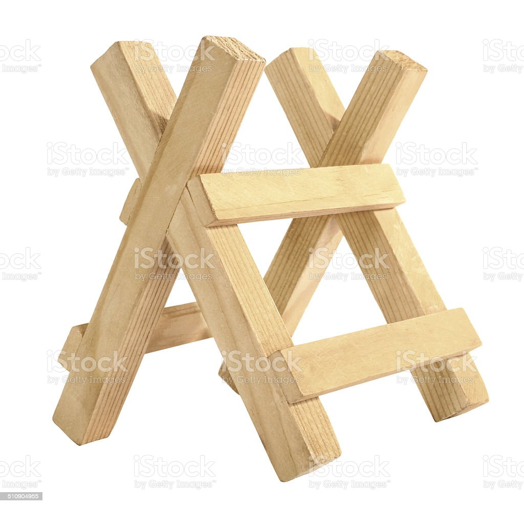 Wooden sawbuck stock photo