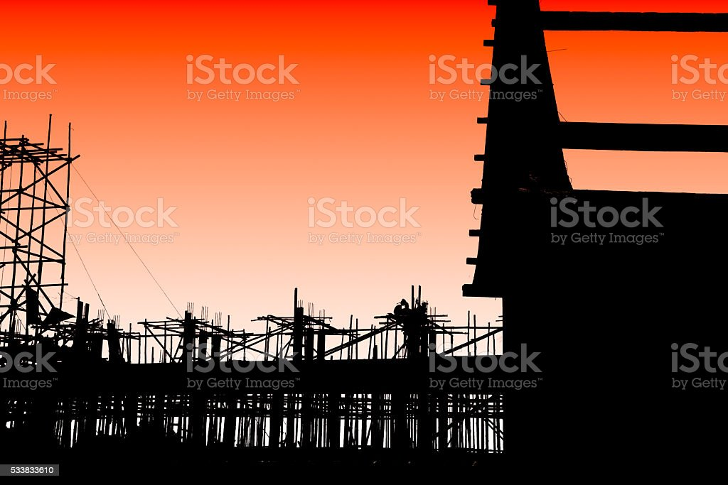 Wooden scaffolding in Thai temple construction site stock photo